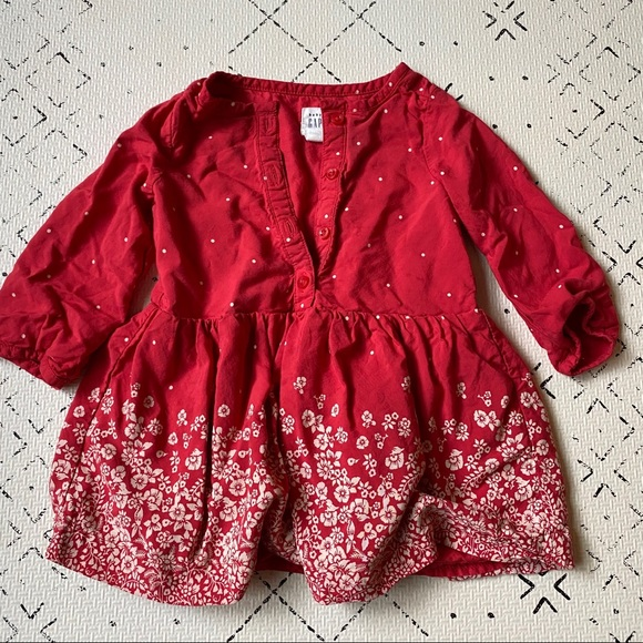 Baby Gap Red Floral Long Sleeved Dress